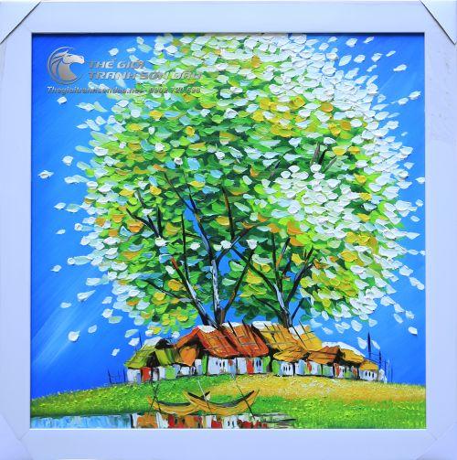 Tranh Sơn Dầu Phong Cảnh Cây Xanh Lá Vẽ Dày Kiểu Hiện Đại
