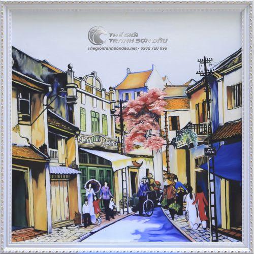 Tranh Sơn Dầu Phong Cảnh Phố Cổ Nghệ Thuật