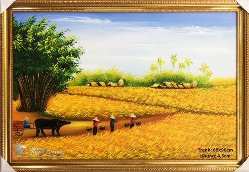 Tranh Sơn Dầu Phong Cảnh Quê Hương Cánh Đồng Lúa Vàng