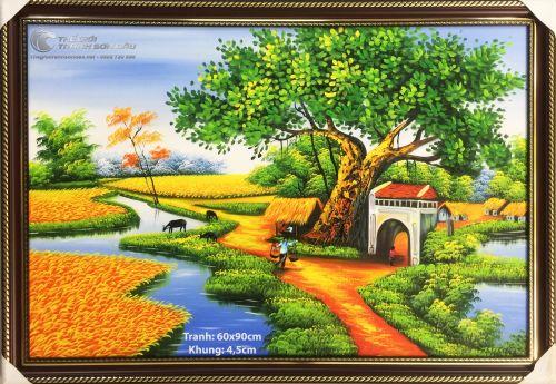 Tranh Sơn Dầu Phong Cảnh Quê Hương Cây Đa Đầu Làng