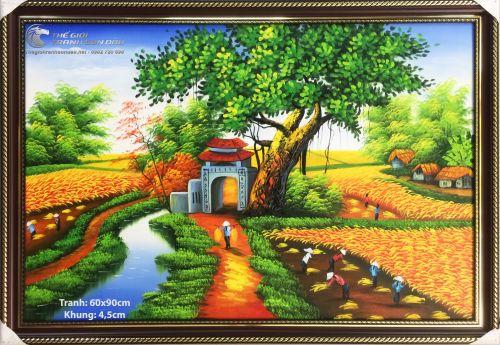 Tranh Sơn Dầu Phong Cảnh Quê Hương Cổng Làng
