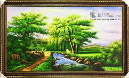 Tranh Sơn Dầu Phong Cảnh Rừng Cây Sông Nước Trang Trí Phòng Khách