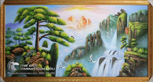 Tranh Sơn Dầu Phong Cảnh Sơn Thủy Cây Tùng