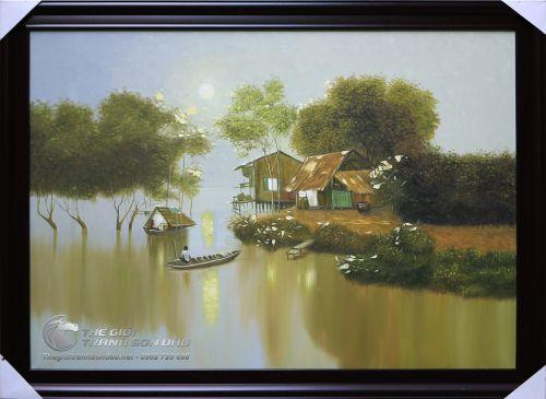 Tranh Sơn Dầu Phong Cảnh Sông Nước Miền Tây Việt Nam