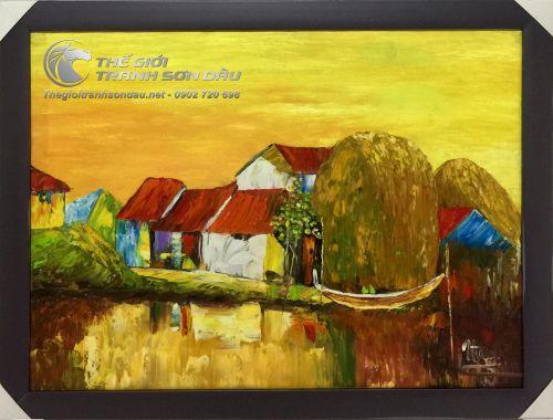 Tranh Sơn Dầu Phong Cảnh Sông Nước Việt Nam Tông Màu Vàng