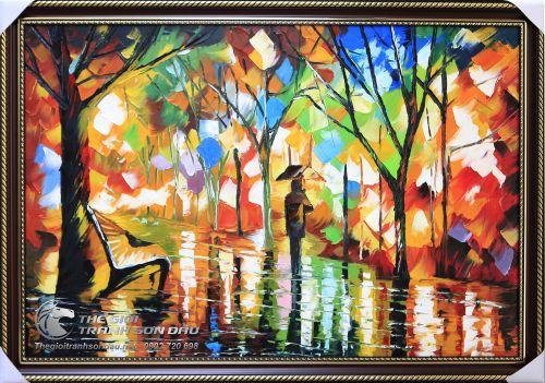 Tranh Sơn Dầu Phong Cảnh Vẽ Dày Màu Trang Trí Nội Thất Đẹp