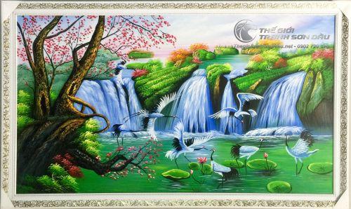 Tranh Sơn Dầu Phong Thủy Chim Hạc Bên Thác Nước