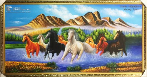 Tranh Sơn Dầu Phong Thủy Đàn Ngựa Chạy