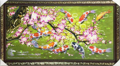 Tranh Sơn Dầu Phong Thủy Hoa Đào Và Cá Chép
