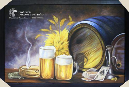 Tranh Sơn Dầu Thùng Bia Trang Trí Phòng Rượu Đẹp Tại TPHCM