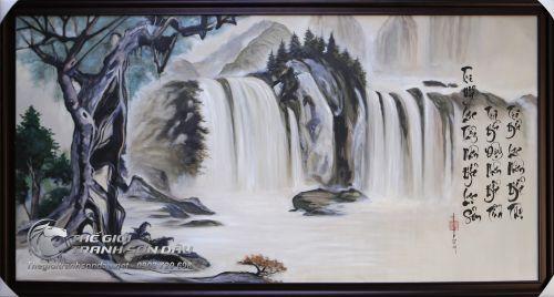 Tranh Sơn Dầu Thủy Mặc Phong Cảnh Thác Nước