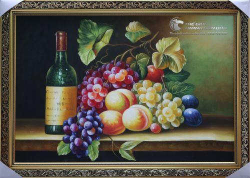Tranh Sơn Dầu Tĩnh Vật Trái Cây và Chai Rượu Treo Nhà Bếp Đẹp Rẻ