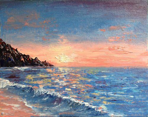 Tranh Sơn Dầu Trát Bay Vẽ Biển Xanh Mênh Mông