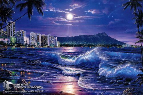 Tranh Sơn Dầu Vẽ Biển Đêm Êm Đềm