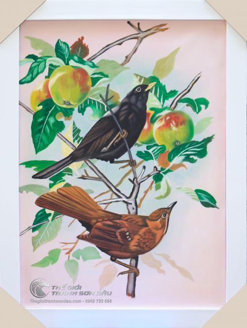 Tranh Sơn Dầu Vẽ Đôi Chim Đậu Trên Cành Táo Đẹp Giá Rẻ TPHCM