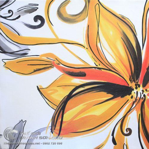 Tranh Sơn Dầu Vẽ Hoa Màu Vàng Ấn Tượng Cho Khách Sạn Giá Rẻ
