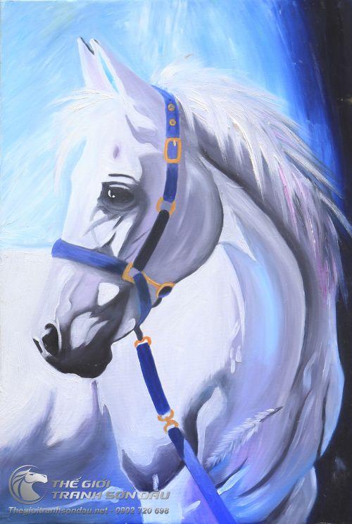 Tranh Sơn Dầu Vẽ Ngựa Trắng - Bạch Mã Đẹp Giá Tốt Giảm Thêm 30%
