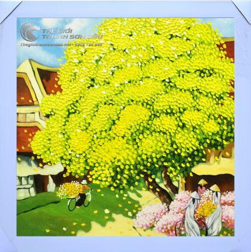 Tranh Sơn Dầu Vẽ Phong Cảnh Việt Nam Mùa Xuân