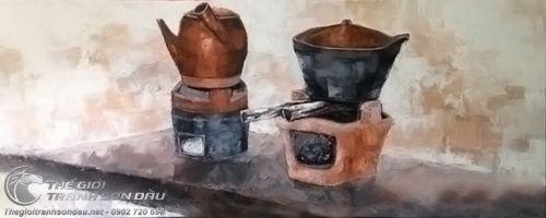 Tranh Sơn Dầu Vẽ Siêu Nấu Thuốc Và Nồi Đất Trên Bếp Đẹp Giá Rẻ