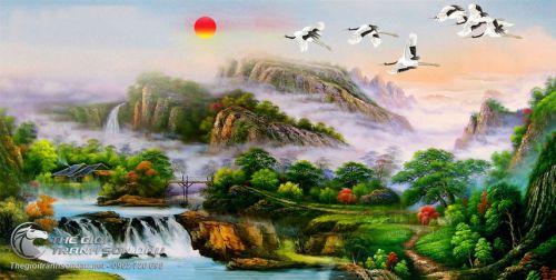 Tranh Sơn Thủy Cảnh Đẹp Núi Non Mây Trời Và Chim Bay