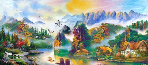 Tranh Sơn Thủy Cảnh Sắc Núi Sông Mây Nước Trữ Tình