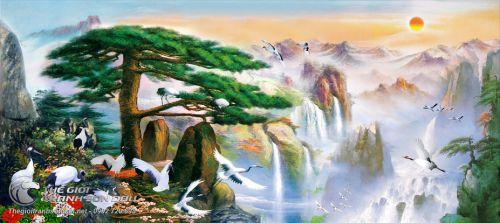 Tranh Sơn Thủy Cây Tùng Bên Thác Nước Mây Núi Huyền Ảo