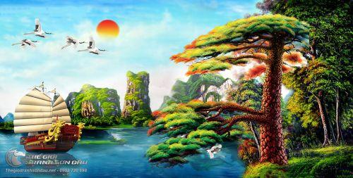 Tranh Sơn Thủy Cây Tùng Người Lái Đò Và Chim Muông