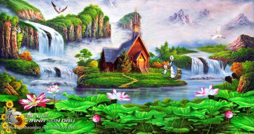 Tranh Sơn Thủy Đầm Sen Và Cảnh Mây Núi Huyền Ảo