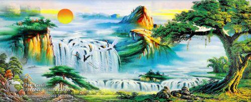Tranh Sơn Thủy Đôi Chim Bay Lượn Bên Thác Nước