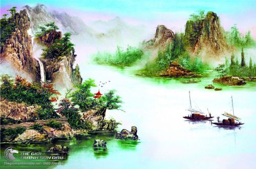 Tranh Sơn Thủy Đồi Núi Sông Nước Và Những Cánh Buồm