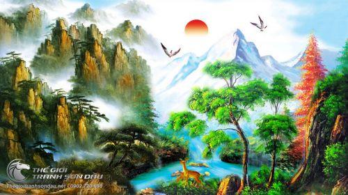 Tranh Sơn Thủy Mây Núi Muôn Thú Chim Muông Mờ Ảo