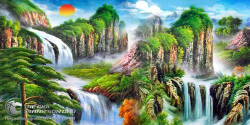 Tranh Sơn Thủy Mây Núi Non Nước Huyền Ảo