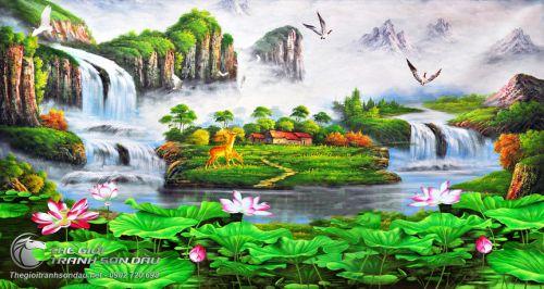 Tranh Sơn Thủy Mây Núi Thác Nước Và Đầm Sen