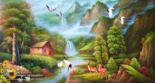 Tranh Sơn Thủy Mây Núi Trùng Điệp Và Con Suối