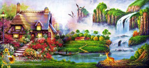 Tranh Sơn Thủy Ngôi Nhà Nhỏ Thác Ghềnh Và Chú Nai