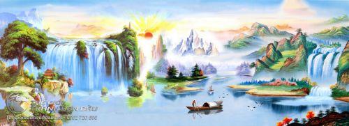 Tranh Sơn Thủy Người Lái Đò Và Phong Cảnh Mây Núi Tuyệt Sắc