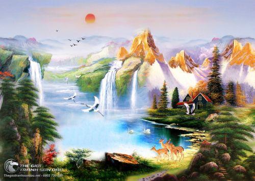 Tranh Sơn Thủy Núi Thác Nước Và Những Chú Chim
