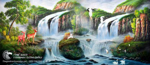 Tranh Sơn Thủy Thác Nước Và Muôn Thú