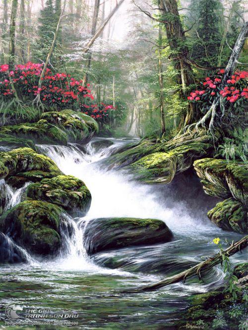 Tranh Suối Thiên Nhiên Giữa Rừng Già