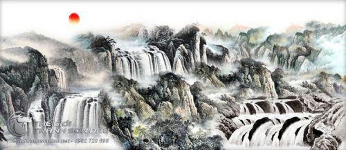 Tranh Thủy Mặc Cảnh Thác Nước Hoang Sơ