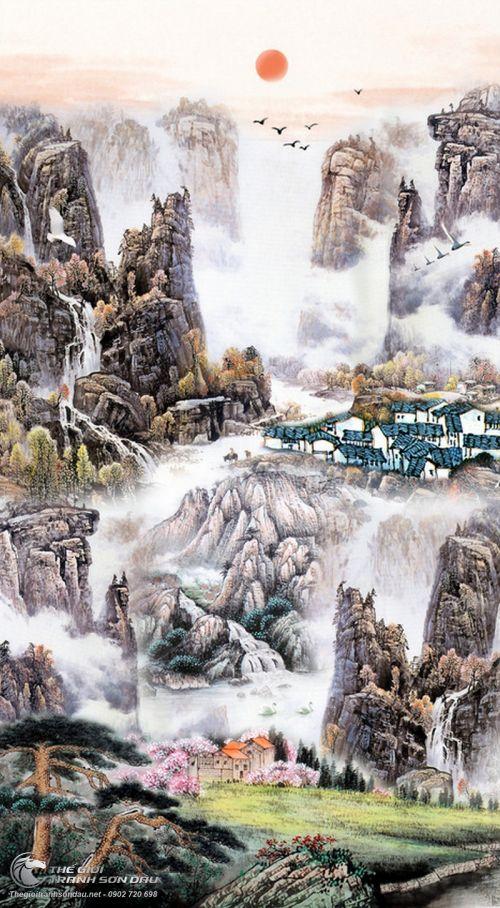 Tranh Thủy Mạc Cuộc Sống Bình Yên Núi Cao