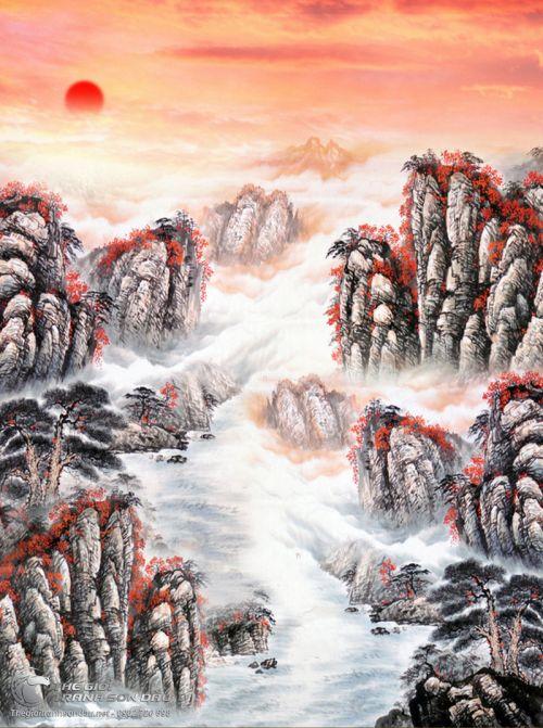 Tranh Thủy Mạc Hoàng Hôn Trên Núi Đỏ
