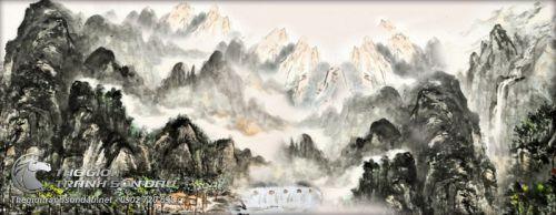 Tranh Thủy Mặc Núi Cao Sương Sớm Bình Minh