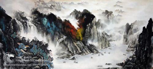 Tranh Thủy Mạc Núi Đá Sắc Màu Đẹp