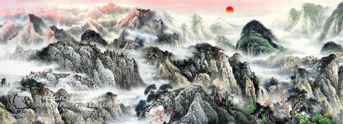 Tranh Thủy Mặc Núi Non Trùng Điệp Trong Sương