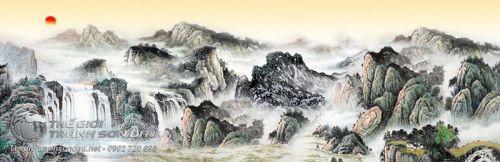 Tranh Thủy Mạc Núi Thác Trong Hoàng Hôn