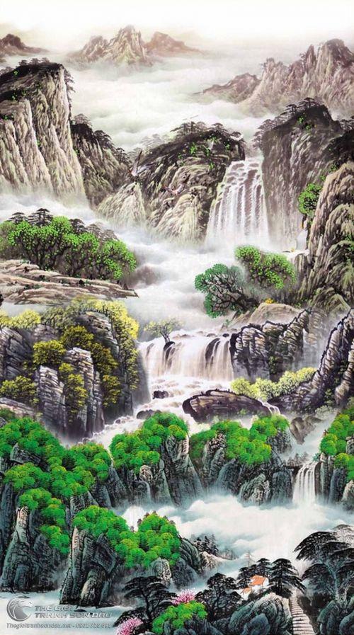 Tranh Thủy Mạc Phong Cảnh Sơn Thủy Sương Sớm