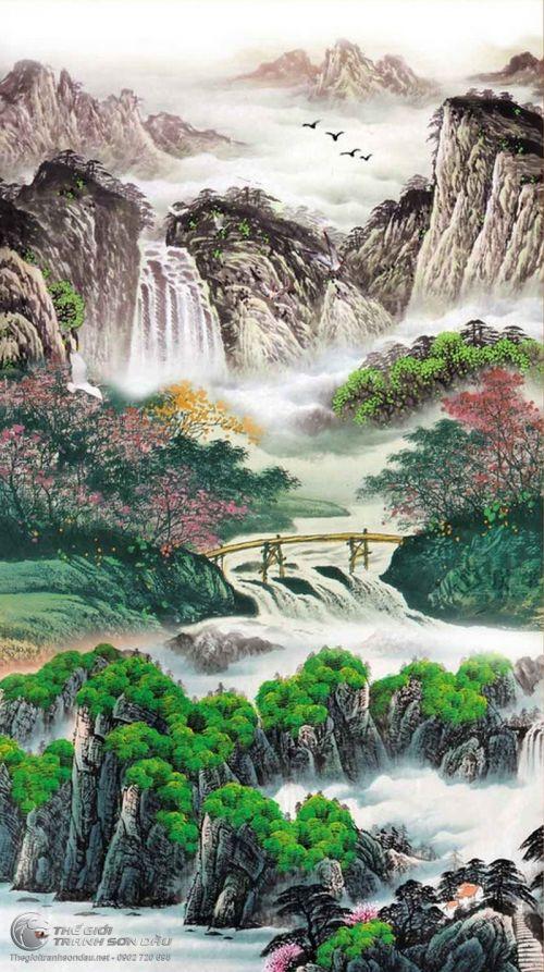 Tranh Thủy Mạc Sơn Thủy Mùa Xuân Đẹp