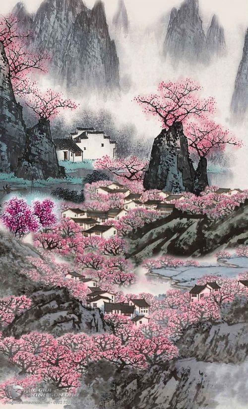 Tranh Thủy Mạc Sơn Thủy Mùa Xuân