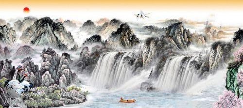 Tranh Thủy Mặc Sông Thác Hùng Vĩ Đẹp